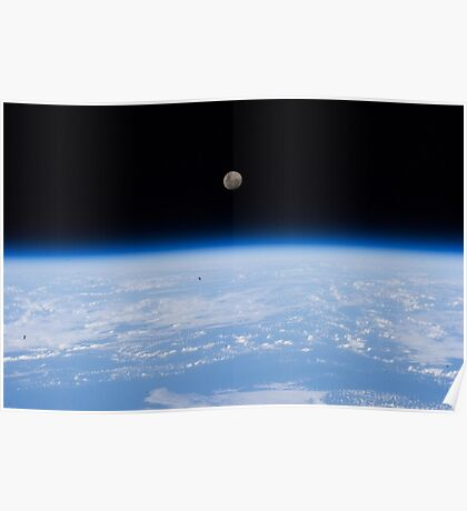 Above The Earth - The moon as seen from the International Space Station - Iss #iss Poster
