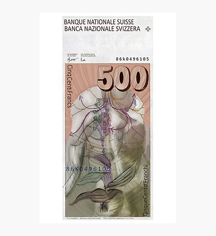 500 Old Swiss Francs Note - Back Photographic Print