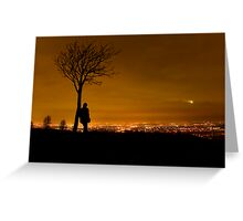 Silhouette of Man Stood By Tree Overlooking Manchester City Centre at Night Greeting Card