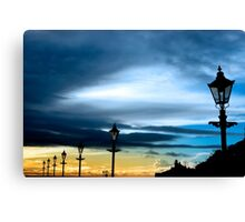 row of vintage lamps and lighthouse Canvas Print
