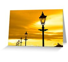 row of vintage lamps at sunset Greeting Card