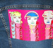 art on denim jacket by flowerstone