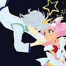 Sailor Mini Moon & Helios by Sarah Paskaruk