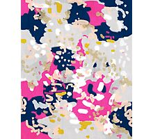 Michel - Abstract, girly, trendy art with pink, navy, blush, mustard for cell phones, dorm decor etc Photographic Print