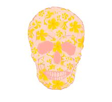 Skull Pastel Flowers Photographic Print