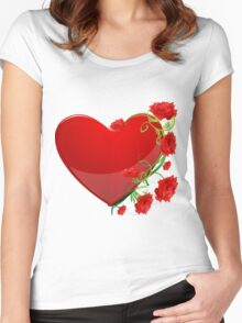 Heart with flowers Women's Fitted Scoop T-Shirt
