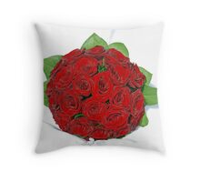 Red Roses for the Bride Throw Pillow