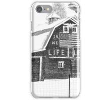 Americana Barn in the Snow Storm B&W iPhone Case/Skin