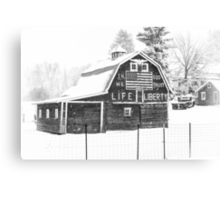 Americana Barn in the Snow Storm B&W Canvas Print