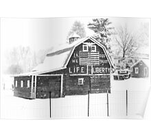 Americana Barn in the Snow Storm B&W Poster