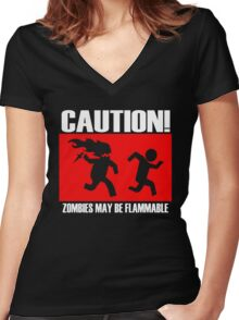Zombies Flammable Women's Fitted V-Neck T-Shirt