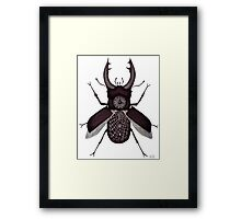 Stag beetle clock surreal black and white pen ink drawing Framed Print