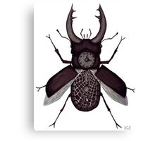 Stag beetle clock surreal black and white pen ink drawing Canvas Print
