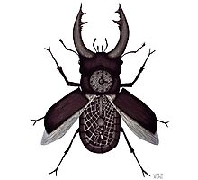 Stag beetle clock surreal black and white pen ink drawing Photographic Print