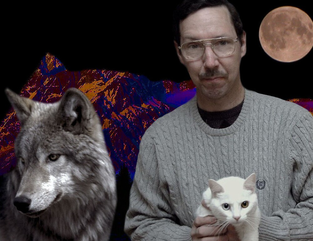 COLLAGE ART WORK OF ME ARTIST BILL DELANEY AND MY CAT SHANIA by LONEWOLF205