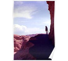 Hiker on Arches Nat'l Park Trail Poster