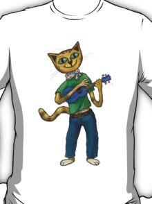 Cat On A Uke - ukulele-playing cat T-Shirt