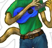 Cat On A Uke - ukulele-playing cat Sticker