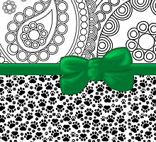 Ribbon, Bow, Dog Paws, Paisley - White Black Green by sitnica