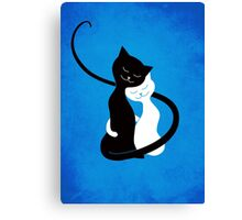 Blue White And Black Cats In Love Canvas Print