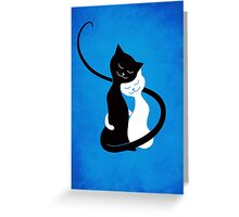 Blue White And Black Cats In Love Greeting Card