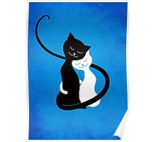 Blue White And Black Cats In Love Poster