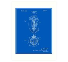 Football Patent - Blueprint Art Print