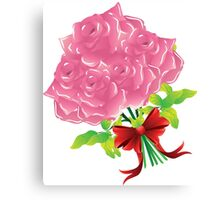 Pink roses with bow Canvas Print