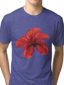 Red hibiscus Tri-blend T-Shirt