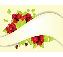 Red roses and ribbon Photographic Print