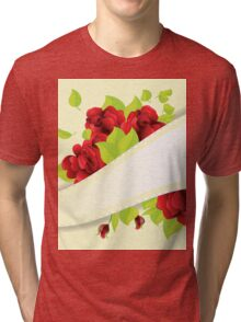 Red roses and ribbon Tri-blend T-Shirt