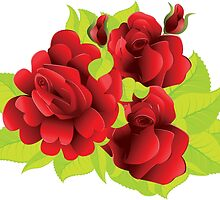 Red roses with leaves  by AnnArtshock