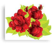 Red roses with leaves  Canvas Print
