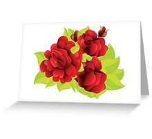 Red roses with leaves  Greeting Card