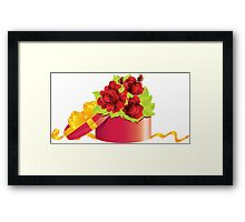 Roses in gift box Framed Print