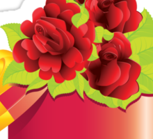 Roses in gift box Sticker
