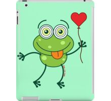 Green frog falling madly in love iPad Case/Skin
