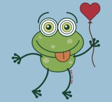 Green frog falling madly in love Kids Clothes