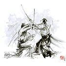 Mens gift ideas, aikido martial arts, ink drawing large poster by Mariusz Szmerdt