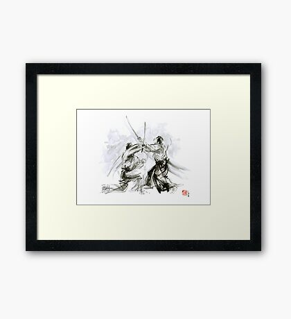 Mens gift ideas, aikido martial arts, ink drawing large poster Framed Print