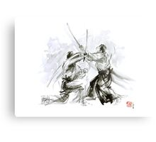 Mens gift ideas, aikido martial arts, ink drawing large poster Metal Print