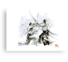 Mens gift ideas, aikido martial arts, ink drawing large poster Canvas Print
