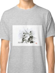 Mens gift ideas, aikido martial arts, ink drawing large poster Classic T-Shirt