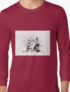 Mens gift ideas, aikido martial arts, ink drawing large poster Long Sleeve T-Shirt
