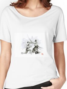 Mens gift ideas, aikido martial arts, ink drawing large poster Women's Relaxed Fit T-Shirt