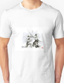 Mens gift ideas, aikido martial arts, ink drawing large poster T-Shirt