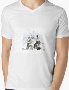 Mens gift ideas, aikido martial arts, ink drawing large poster Mens V-Neck T-Shirt