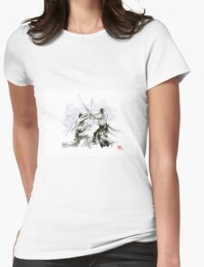 Mens gift ideas, aikido martial arts, ink drawing large poster Womens Fitted T-Shirt