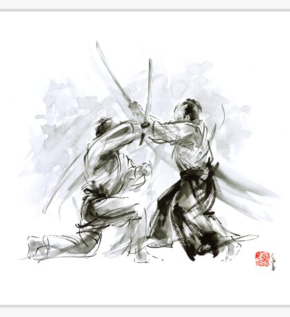Mens gift ideas, aikido martial arts, ink drawing large poster Sticker