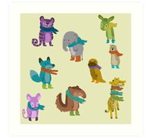 sad and indifferent animals wearing scarves Art Print
